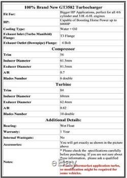GT35 GT3582 Turbo R32 R33 R34 RB25 RB30 AR. 70 A/R. 82 Turbocharger ANTI SURGE