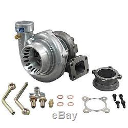 GT35 T3 Turbo Charger Anti-Surge 500+ HP + Oil 3 V-Band Clamp Flange Kit